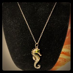 Jewelry - Brass and enamel seahorse necklace